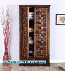 Lemari Pakaian Kayu jati Ukir Anyaman Bambu