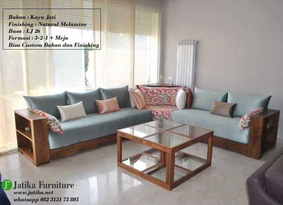 Gambar Set Sofa Sudut Minimalis Box Kayu Jati